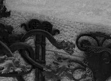 Ο δράκος σιδήρου είναι στο φράκτη παραθύρων Στοκ εικόνα με δικαίωμα ελεύθερης χρήσης