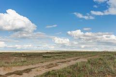 Ο δρόμος πηγαίνει στον ορίζοντα Επιπλέον σώμα σύννεφων πέρα από τον ουρανό πέρα από τα λιβάδια Tyva στέπα καλοκαίρι ημέρας ηλιόλο Στοκ Φωτογραφία