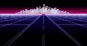 Ο δρόμος 80 πόλεων νύχτας αναδρομικός βρόχος υποβάθρου τρισδιάστατος δίνει απεικόνιση αποθεμάτων