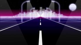 Ο δρόμος 80 πόλεων νύχτας αναδρομικός βρόχος υποβάθρου τρισδιάστατος δίνει ελεύθερη απεικόνιση δικαιώματος