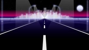 Ο δρόμος 80 πόλεων νύχτας αναδρομικός βρόχος υποβάθρου τρισδιάστατος δίνει στοκ εικόνες με δικαίωμα ελεύθερης χρήσης