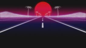 Ο δρόμος 80 φοινικών Synthwave αναδρομικό υπόβαθρο τρισδιάστατο δίνει απεικόνιση αποθεμάτων