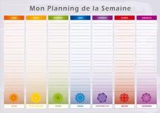Ο εβδομαδιαίος αρμόδιος για το σχεδιασμό με 7 ημέρες και την αντιστοιχία Chakras στο ουράνιο τόξο χρωματίζει - γαλλική γλώσσα Απεικόνιση αποθεμάτων