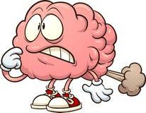Ο εγκέφαλος κινούμενων σχεδίων που έχει έναν εγκέφαλο κλάνει διανυσματική απεικόνιση