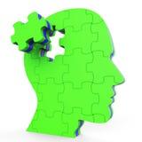 Ο εγκέφαλος σκέφτεται ότι δείχνει για το κεφάλι και τη νοημοσύνη διανυσματική απεικόνιση