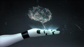 Ο εγκέφαλος συνδέει τις ψηφιακές γραμμές, αυξάνεται την τεχνητή νοημοσύνη στην παλάμη ρομπότ cyborg, χέρι, βραχίονας ρομπότ ελεύθερη απεικόνιση δικαιώματος