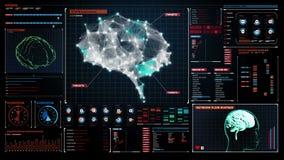 Ο εγκέφαλος συνδέει τις ψηφιακές γραμμές στο ταμπλό ψηφιακής επίδειξης, αυξάνεται την τεχνητή νοημοσύνη απεικόνιση αποθεμάτων