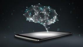 Ο εγκέφαλος συνδέει τις ψηφιακές γραμμές στο smartphone, κινητό έξυπνο μαξιλάρι, αυξάνεται την τεχνητή νοημοσύνη ελεύθερη απεικόνιση δικαιώματος