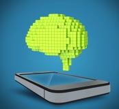 Ο εγκέφαλος τρισδιάστατο εικονοκύτταρο, που βρίσκεται ως πέρα από το τηλέφωνο Στοκ φωτογραφίες με δικαίωμα ελεύθερης χρήσης