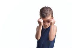 Ο εγκιβωτισμός μικρών παιδιών, παρουσιάζει πυγμές του, που απομονώνονται στο λευκό Στοκ φωτογραφία με δικαίωμα ελεύθερης χρήσης