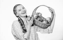 Ο ειλικρινής χωρικός γυναικών φέρνει το καλάθι με τα φυσικά φρούτα Κηπουρός γυναικείων αγροτών υπερήφανος του κηπουρού γυναικών σ στοκ φωτογραφία