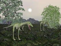 Ο δεινόσαυρος Compsognathus mum και το μωρό τρισδιάστατο δίνουν Στοκ Εικόνες
