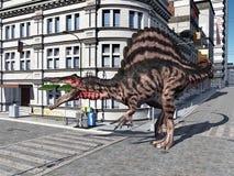Ο δεινόσαυρος Spinosaurus στην πόλη Στοκ Φωτογραφία