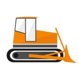 Ο εκσακαφέας είναι ένας φορέας κατασκευής Πορτοκαλιά μπουλντόζα ελεύθερη απεικόνιση δικαιώματος