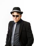 Ο εκφραστικός έφηβος έντυσε στο κοστούμι Στοκ Φωτογραφία
