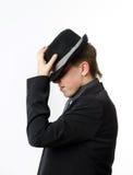 Ο εκφραστικός έφηβος έντυσε στο κοστούμι Στοκ Εικόνες