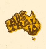 Ο εκλεκτής ποιότητας χάρτης της Αυστραλίας έβλαψε κλασικό κίτρινο με τη σκόνη και τις γρατσουνιές Στοκ Εικόνα