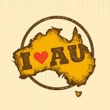 Ο εκλεκτής ποιότητας χάρτης της Αυστραλίας έβλαψε κλασικό κίτρινο με τη σκόνη και τις γρατσουνιές Στοκ εικόνες με δικαίωμα ελεύθερης χρήσης