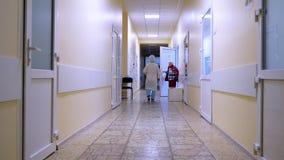 Ο ενήλικος αρσενικός γιατρός περνά από την αίθουσα νοσοκομείων Άποψη μιας αίθουσας νοσοκομείων Κενός διάδρομος κλινικών με το για απόθεμα βίντεο