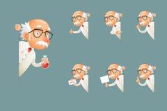 Ο ενήλικος παλαιός παππούς χαρακτήρα επιστημόνων σοφός φαίνεται έξω εικονίδια γωνιών καθορισμένα το σχέδιο κινούμενων σχεδίων τη  διανυσματική απεικόνιση