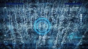 Ο εναέριος κηφήνας POV ανιχνεύει το χιονώδες δάσος ελεύθερη απεικόνιση δικαιώματος