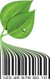 Ο εννοιολογικός οικολογικός γραμμωτός κώδικας απεικόνισης με πράσινο βγάζει φύλλα και Στοκ Εικόνα