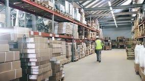Ο εξοπλισμός προστασίας εργαζομένων αποθηκών εμπορευμάτων περπατά από τα warehouseinspects τα αγαθά για την αποστολή απόθεμα βίντεο