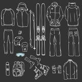Ο εξοπλισμός σκι στο διάνυσμα, infographic σύνολο εξαρτήσεων σκι, κάνει σκι διανυσματικό doo διανυσματική απεικόνιση