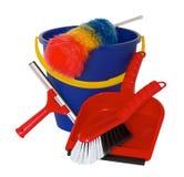 Ο εξοπλισμός ανοιξιάτικου καθαρισμού με τον κάδο, τη βούρτσα και το φτυάρι Στοκ Εικόνες