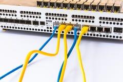 Ο εξοπλισμός του ραδιο σταθμού βάσης, των ενοτήτων SFP, των μπλε και κίτρινων σκοινιών μπαλωμάτων Διαδίκτυο Επικοινωνία Δίκτυο Στοκ Φωτογραφία