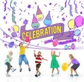 Ο εορτασμός γιορτάζει την κοινωνική έννοια γεγονότος επετείου Στοκ εικόνες με δικαίωμα ελεύθερης χρήσης