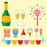 Ο εορτασμός εικονιδίων κόμματος εκπλήσσει χρόνια πολλά το διάνυσμα επετείου γεγονότος διακοσμήσεων διανυσματική απεικόνιση