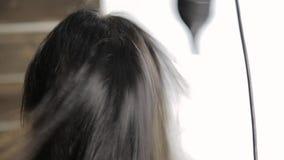 Ο επαγγελματικός κομμωτής κάνει τον προσδιορισμό τρίχας για τον όμορφο θηλυκό πελάτη και το χρησιμοποιημένο στεγνωτήρα τρίχας με  φιλμ μικρού μήκους