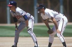 Ο επαγγελματικός παίχτης του μπέιζμπολ τσίχλα του Clark και στάμνα προσοχής κατά τη διάρκεια του παιχνιδιού, πάρκο κηροπηγίων, Σα Στοκ φωτογραφία με δικαίωμα ελεύθερης χρήσης
