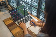 Ο επενδυτής αναλύει την αλλαγή του χρηματιστηρίου στο lap-top στοκ εικόνα