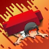 Ο επενδυτής είναι κάτω από το κόκκινο κηροπήγιο Επενδυτής αποτυχημένος απεικόνιση αποθεμάτων