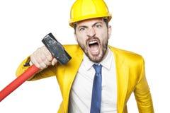 Ο 0 επενδυτής απειλεί το μεγάλο σφυρί Στοκ φωτογραφία με δικαίωμα ελεύθερης χρήσης