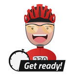 Ο επικεφαλής του αρσενικού τίτλου ποδηλατών παίρνει έτοιμος Editable EPS10 Διανυσματική απεικόνιση