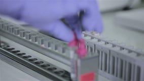 Ο επιστήμονας, γιατρός εξετάζει το σωλήνα δοκιμής με τα δείγματα αίματος στο σύγχρονο, φωτεινό εργαστήριο φιλμ μικρού μήκους