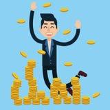 Ο επιτυχής επιχειρηματίας γιορτάζει τη μεγάλη διαπραγμάτευση χρημάτων διανυσματική απεικόνιση