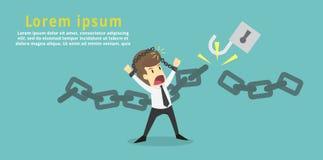 Ο επιχειρηματίας έκοψε την αλυσίδα και ελεύθερος ο ίδιος από το χρέος Οικονομικό FR διανυσματική απεικόνιση