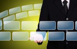 ο επιχειρηματίας δίνει την κενή στιγμή κουμπιών Στοκ Εικόνες