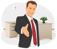 Ο επιχειρηματίας δίνει το χέρι ελεύθερη απεικόνιση δικαιώματος