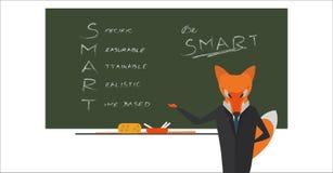 Ο επιχειρηματίας αλεπούδων μπροστά από τον πίνακα με το κείμενο που γράφεται από την κιμωλία Κριτήρια του cSmart για τους στόχους ελεύθερη απεικόνιση δικαιώματος