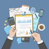 Ο επιχειρηματίας αναλύει τα έγγραφα σχετικά με την περιοχή αποκομμάτων Έλεγχος, λογαριασμός, ανάλυση, analytics Χέρια, χρήματα ημ διανυσματική απεικόνιση