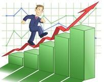 Ο επιχειρηματίας αναρριχείται επάνω στην επιχειρησιακή γραφική παράσταση απεικόνιση αποθεμάτων