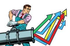 Ο επιχειρηματίας ανοίγει το σωλήνα, διάγραμμα αύξησης επάνω Απομονώστε στο άσπρο backgr διανυσματική απεικόνιση