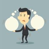 Ο επιχειρηματίας αντέχει σκέφτεται τη φυσαλίδα διανυσματική απεικόνιση