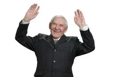 Ο επιχειρηματίας βάζει τα χέρια επάνω στοκ φωτογραφία με δικαίωμα ελεύθερης χρήσης