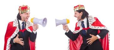 Ο επιχειρηματίας βασιλιάδων με το μεγάφωνο που απομονώνεται στο λευκό Στοκ Εικόνες